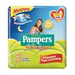 PANNOLINO PER BAMBINO PAMPERS SOLE & LUNA MIDI 20